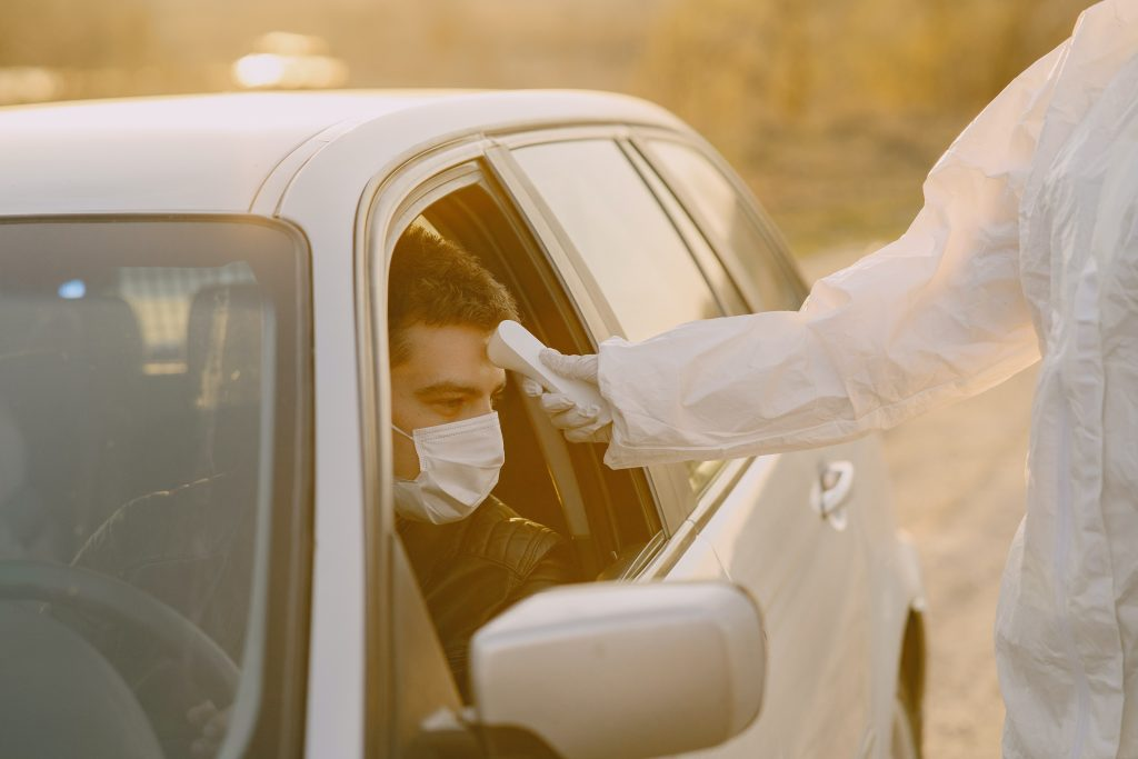 Limiting Exposure to covid-19 by taking temperatures in the car
